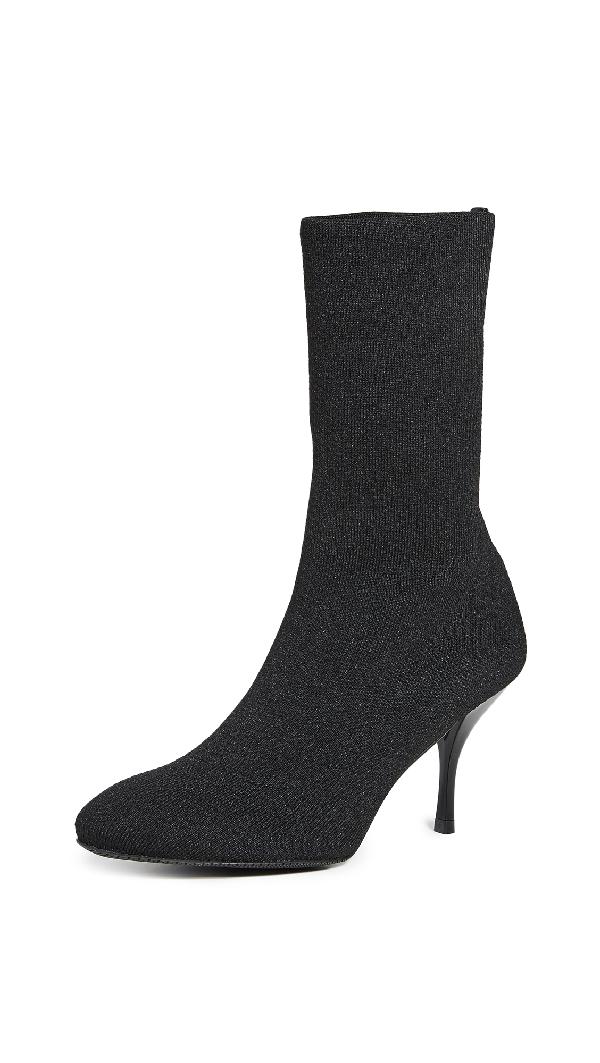 Stuart Weitzman Violetta Stretch-Knit Sock Booties In Black