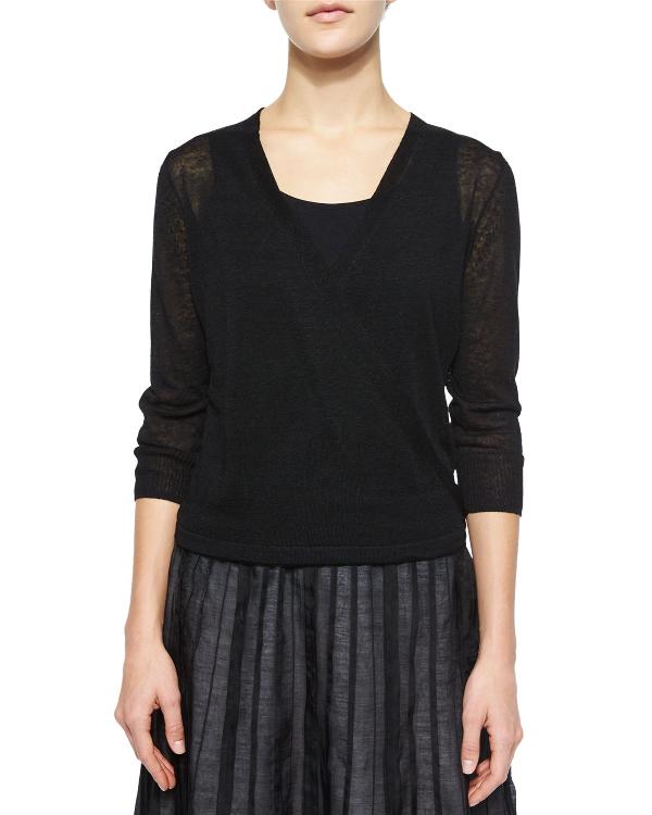 Nic + Zoe Plus Size 4-Way Linen-Blend Knit Cardigan In Black Onyx