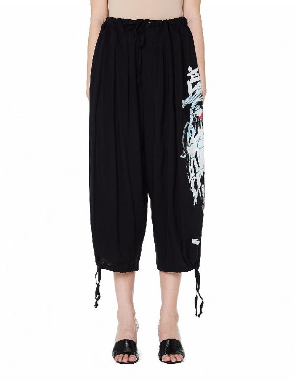 Yohji Yamamoto Cropped Printed Trousers In Black