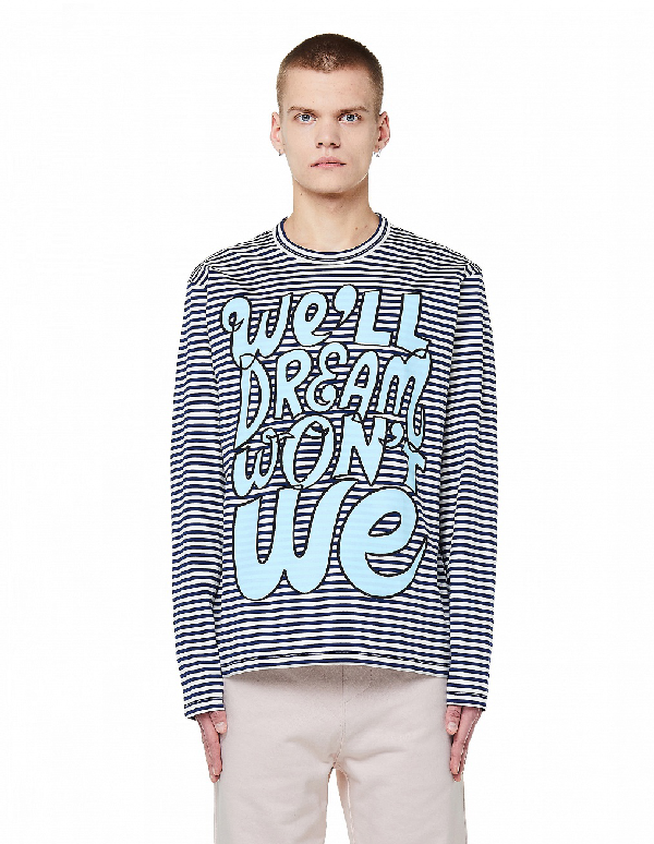 Junya Watanabe Cotton Printed L/s T-shirt In Multicolor