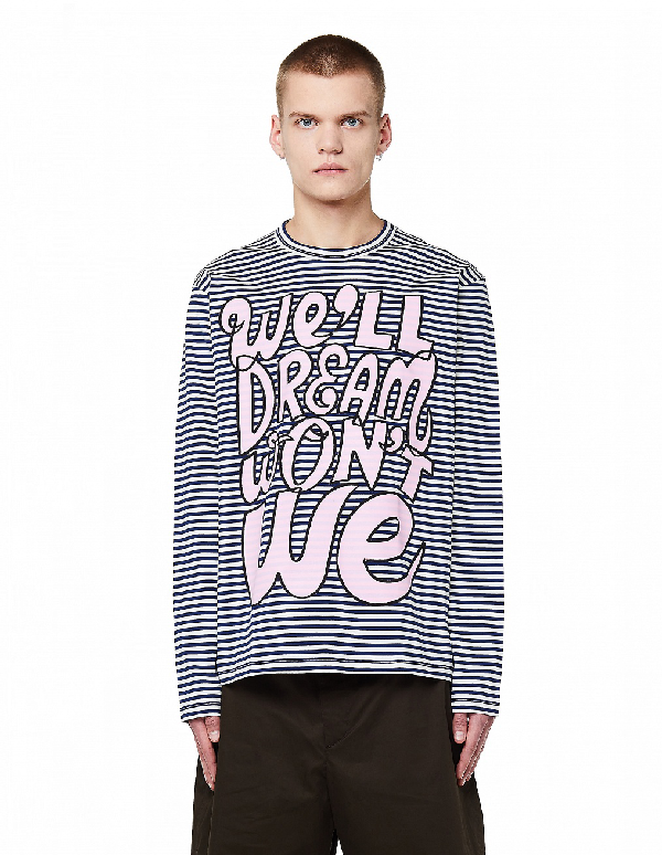 Junya Watanabe Striped Printed L/S T-Shirt In Multicolor