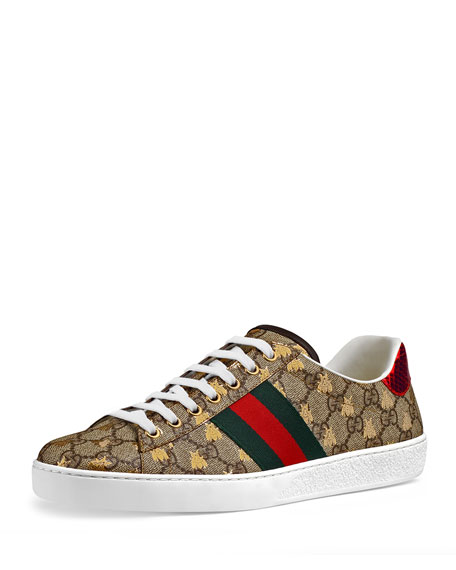 947af8147c8 Gucci Men s Ace Gg Supreme Bee Sneakers In Biege Gold Vrv
