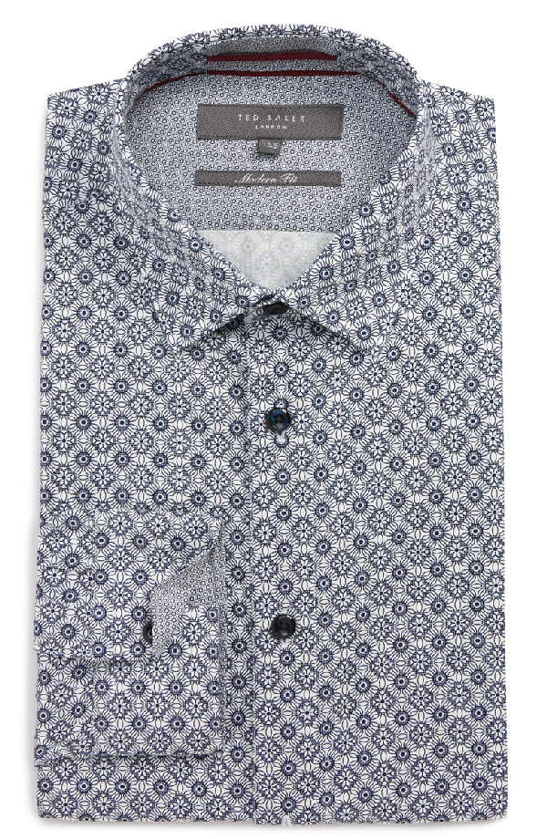 Ted Baker Modern Fit Stretch Geometric Dress Shirt In Blue