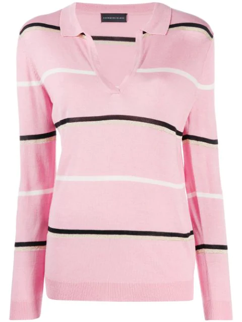 Cashmere In Love Striped Polo Shirt In Pink