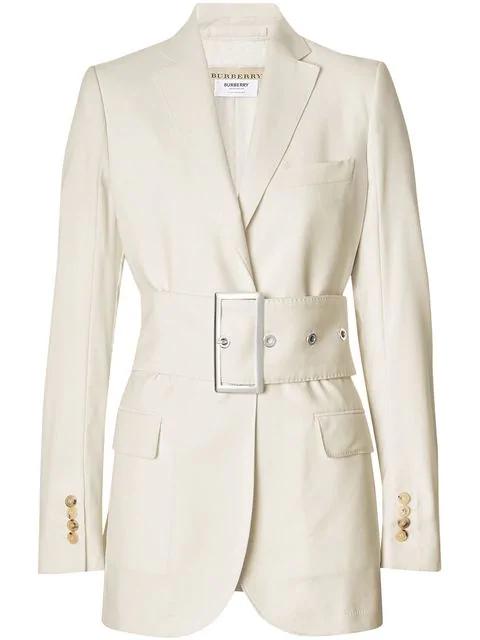 Burberry Single-Breasted Belted Wool-Poplin Blazer In White