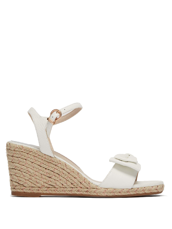Sophia Webster Bonnie Leather Espadrille Wedges In White