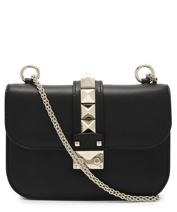 Valentino Small Leather Rockstud Cross-Body Bag In Nero