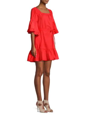 Joie Colstona Tie-waist Poplin Dress In Salsa