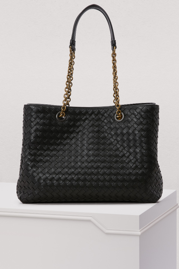 Bottega Veneta Intrecciato Medium Double-Chain Tote Bag In Dark Blue