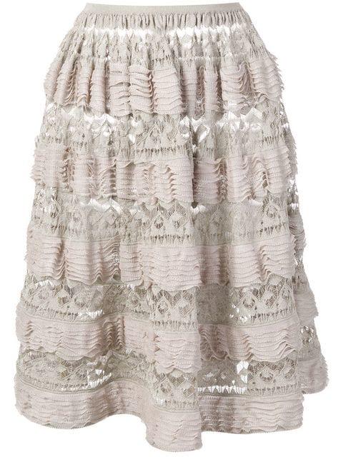 Alaïa 2000's Layered Ruffled Skirt In Neutrals