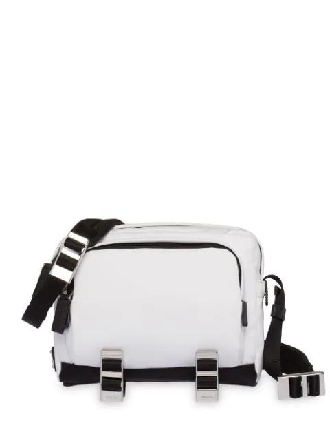Prada Technical Fabric Messenger Bag In White