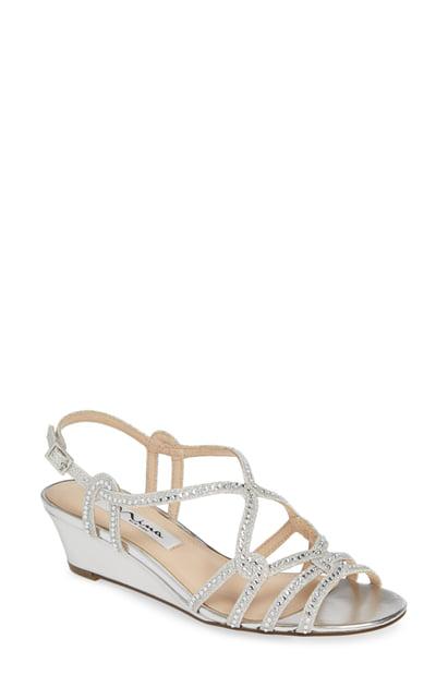 2f503435056e Nina Fynlee Crystal Embellished Wedge Sandal In Silver Glitter Fabric