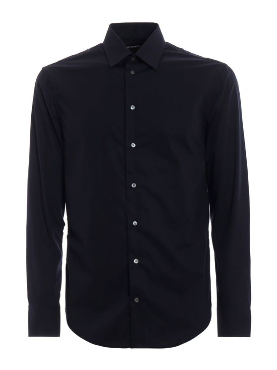 Emporio Armani Stretch Cotton Shirt In Blu