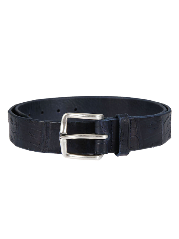 Orciani Men's Blue Leather Belt
