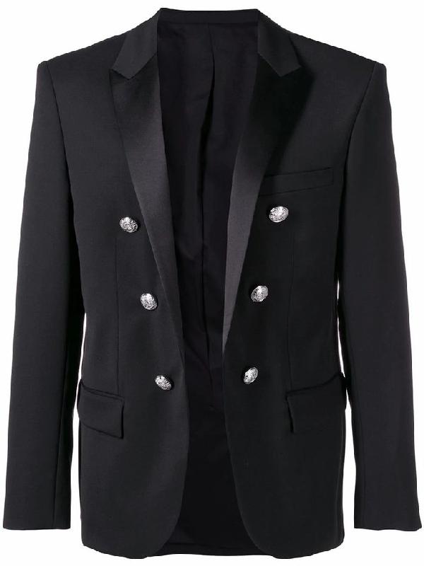 Balmain Men's Black Wool Blazer
