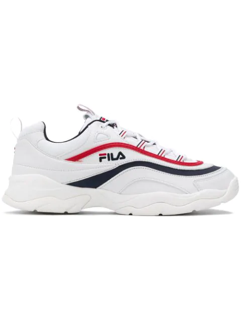 Fila Sneakers In White-blue Leather In 150 White