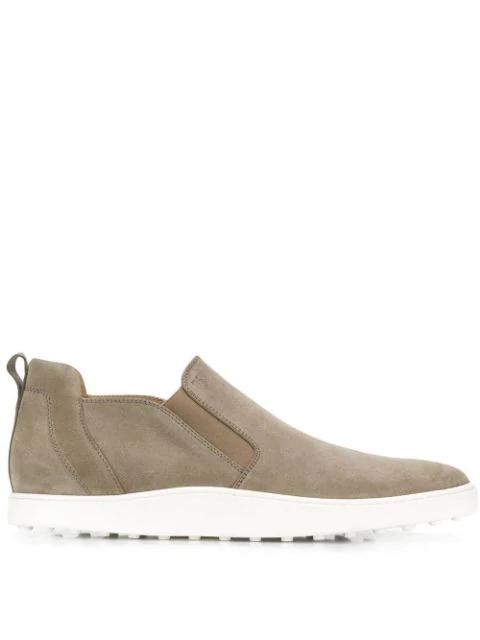 Tod's Dark Beige Suede Slip-on Sneakers In Grey