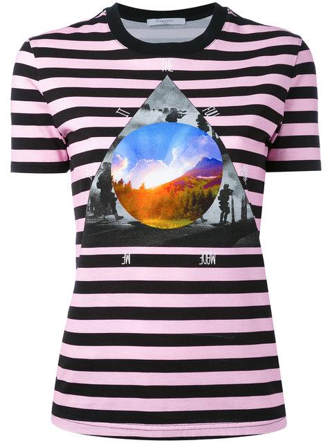 Givenchy Black/Pink Striped T-Shirt In 692 Arancio