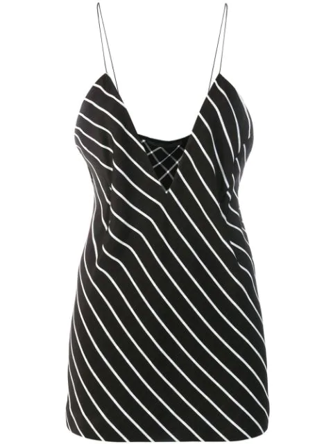 Haider Ackermann Striped Crepe De Chine Camisole In Black