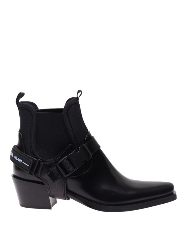 Prada Women's 1t977i3h6qf0002 Black Leather Ankle Boots