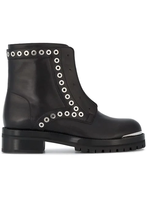 Alexander Mcqueen Stud Flat Embellished Leather Ankle Boots In Black