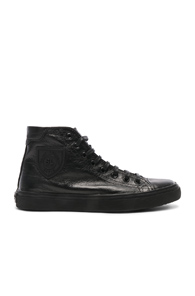Saint Laurent Women's 5156380O6101000 Black Leather Hi Top Sneakers