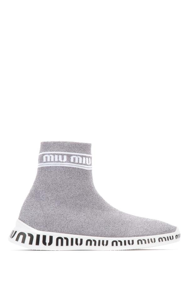 Miu Miu Women's Grey Fabric Slip On Sneakers