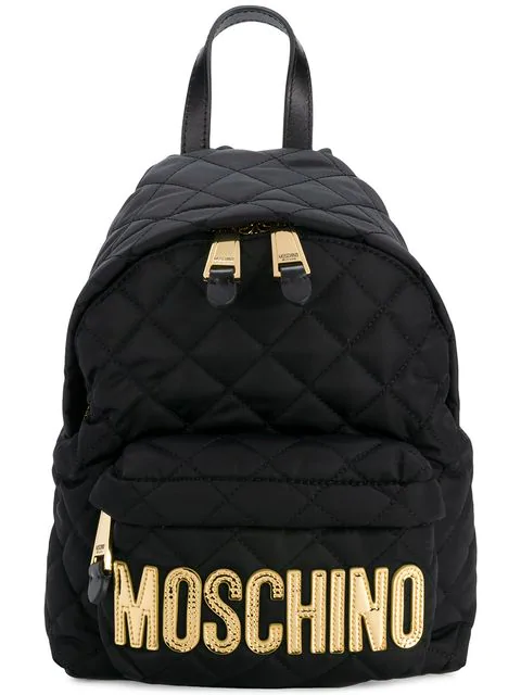 Moschino Logo Lettering Quilted Backpack In 2555 Black Gold