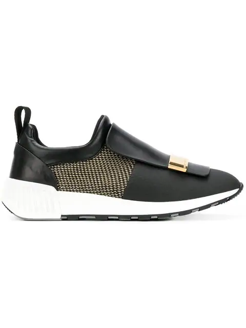 Sergio Rossi Black Leather Slip On Sneakers