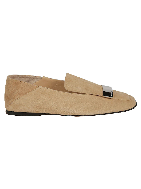 Sergio Rossi Beige Suede Loafers