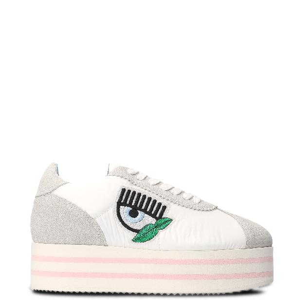 Chiara Ferragni White Leather Sneakers
