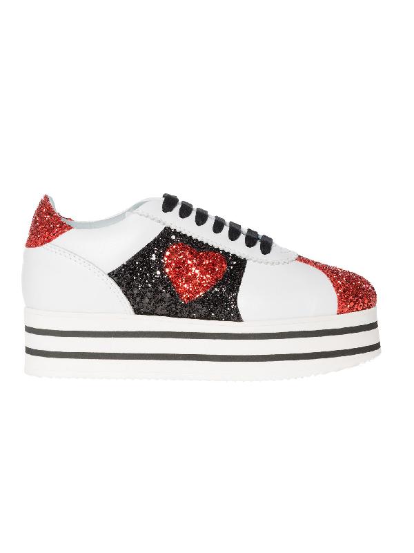 Chiara Ferragni White Leather Slip On Sneakers