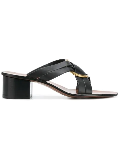 ChloÉ Women's Rony Leather Mid-heel Sandals In Black