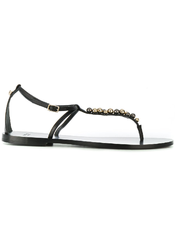 Versace Women's Dsr540Cd2Vtpblack Black Leather Sandals