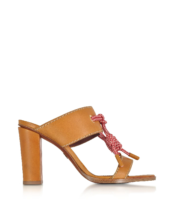 Dsquared2 Camel Leather High Heel Sandals In Brown