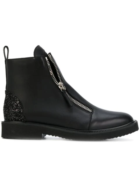 Giuseppe Zanotti Black Leather Ankle Boots In 001