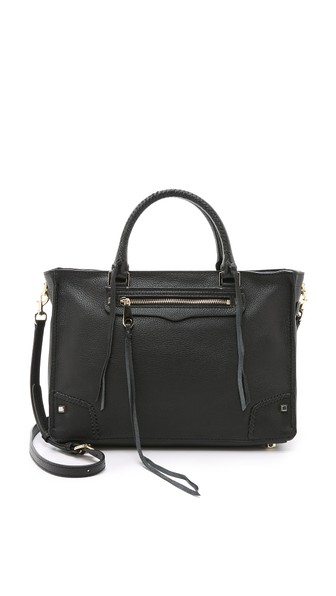 Rebecca Minkoff Black Leather Regan Satchel Tote Bag