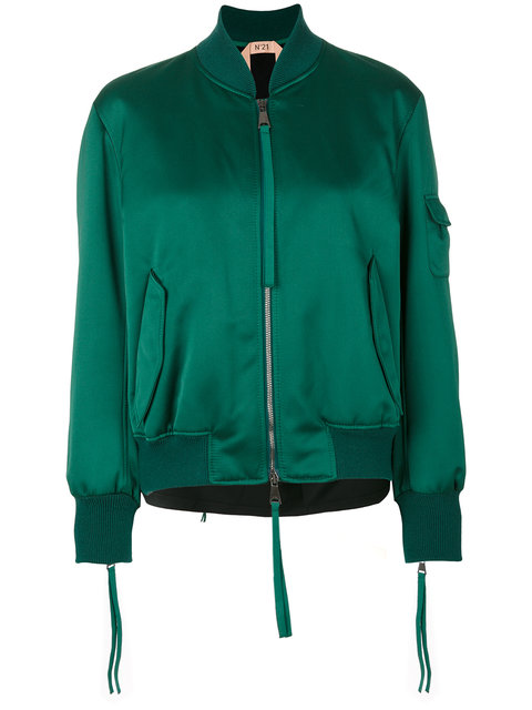 N°21 No21 - Contrast Back Bomber Jacket  In Green