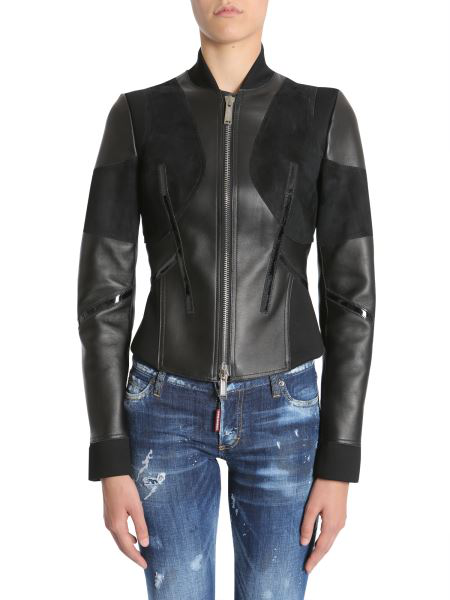 Dsquared2 Black Leather Outerwear Jacket