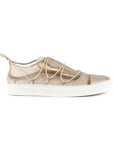 Dsquared2 Golden Glitter Leather Sneakers In Metallic
