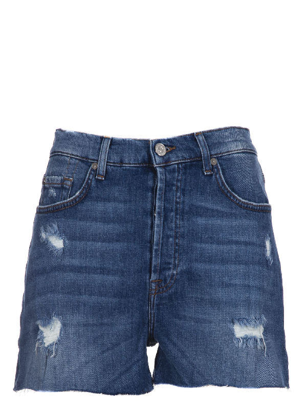 7 For All Mankind Blue Cotton Shorts