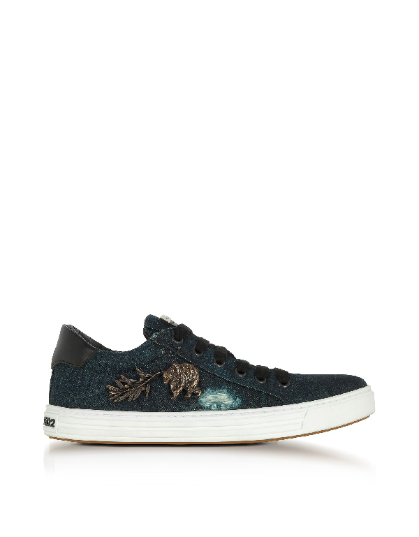 Dsquared2 Washed Denim Tennis Club Women's Sneakers In Blue