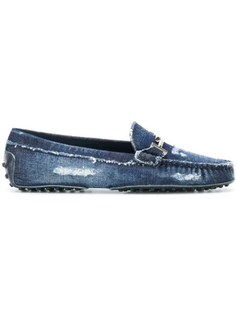 Tod's Distressed Denim Gommino Driving Shoes In 0zys Demin+navy