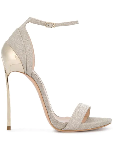 Casadei Silver Leather Sandals In Gold