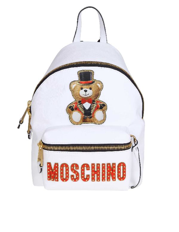 Moschino White Leather Backpack