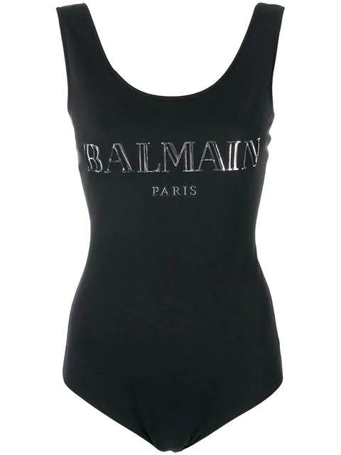 Balmain 3D Shiny Logo Cotton Jersey Bodysuit In Black