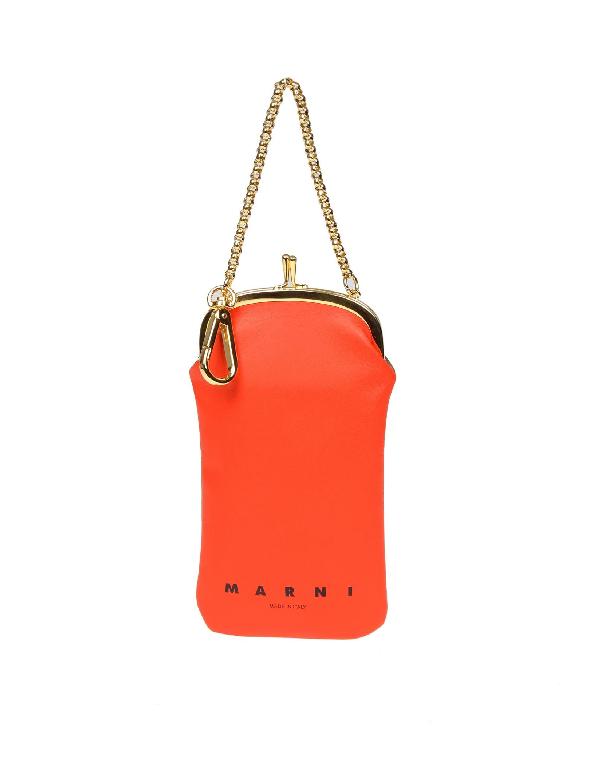 Marni Women's Temo0000U0La553Z2B39 Orange Leather Clutch