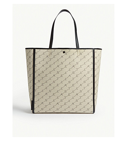 Stella Mccartney Monogram Logo-Jacquard Canvas Tote In Cream Multi