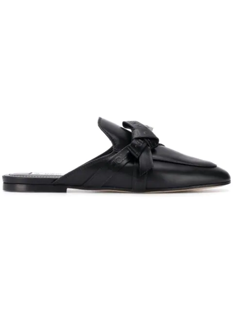 Tod's Bow Detail Black Leather Mules In B999 - Black