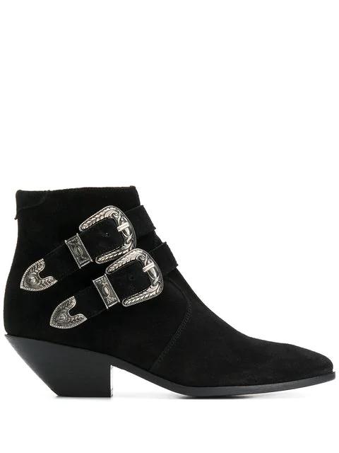 Saint Laurent Ankle Boots West  Suede Metallic Black In 1000   Nero